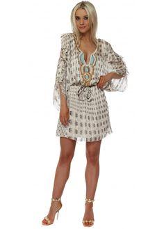 MY STORY Mocha Printed Cold Shoulder Chiffon Dress