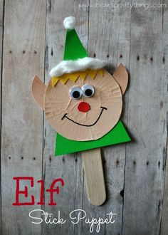 I HEART CRAFTY THINGS: Elf Stick Puppet Craft for kids to make for Christmas   #christmascraft #prek