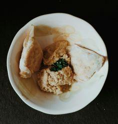 Tuna, parsley, potatoe and egg bricks with houmous
