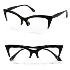 320f6372ca3 Pop Fashionwear1950s Vintage style Cat Eye Clear Lens Glasses P4022CL Black  Clear     Click