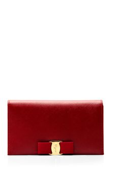 Shop Miss Vara Bow Clip Leather Clutch by Salvatore Ferragamo Now Available on Moda Operandi