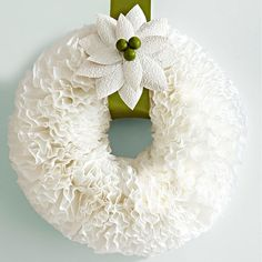 Coffee filters and a little hot glue make up this wreath.