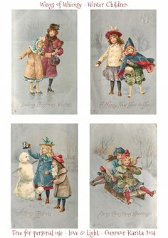 Wings of Whimsy: 1905 Winter Children Printables for Vintage Snow Globes