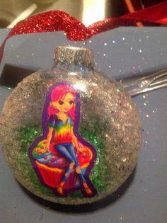 Pink hair cupcake girl ornament