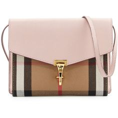 Burberry Macken Small Leather & House Check Crossbody Bag (14.645.615 IDR) ❤ liked on Polyvore featuring bags, handbags, shoulder bags, pale orchid, leather shoulder handbags, pink leather purse, cross-body handbag, leather handbags and pink leather handbags
