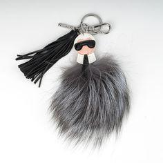 FENDI Keychain Karlito Fur pompom Bag charm Keyring Black leather Gray  silver  fashion  clothing ca26196ec2859