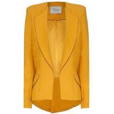 Hebe Studio - The Hebe Suit Ochre Girlfriend Blazer (£265) ❤ liked on Polyvore featuring outerwear, jackets, blazers, tops, asymmetrical blazer, blazer jacket, yellow blazer, asymmetrical jacket and lapel jacket