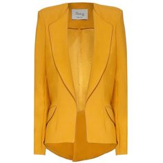 Hebe Studio - The Hebe Suit Ochre Girlfriend Blazer ($340) ❤ liked on Polyvore featuring outerwear, jackets, blazers, fitted blazers, yellow blazer, yellow jacket, lapel jacket and yellow blazer jacket