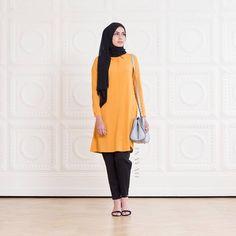 INAYAH   Mustard Flare Midi Shirt + Black Cotton Tapered #Trousers Black Maxi…