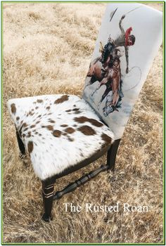Upholstered Accent Chair with C. Russell cowboy print and Cowhide seat. Cowhide decor, Cowhide furniture, western furniture, western upholstered chair, western decor Home decor Cowhide Decor, Cowhide Furniture, Western Furniture, Rustic Furniture, Cool Furniture, Painted Furniture, Cabin Furniture, Furniture Vintage, Furniture Online