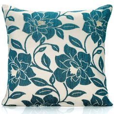 Peony Chenille Cushion Cover, Teal Blue