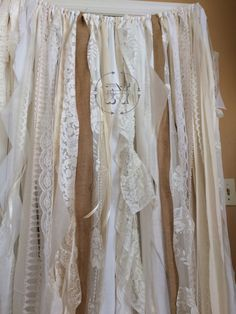 Cortinas de arpillera encaje cinta cortina trapo rústico