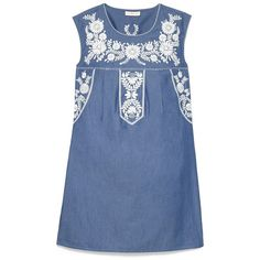 Tory Burch Calita Dress ($163) ❤ liked on Polyvore featuring dresses, tops, shirts, vintage dresses, vintage bohemian dresses, bohemian style dresses, floral embroidered dress and blue vintage dress