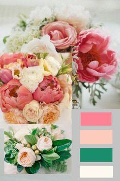 wedding color palate - coral blush peach emerald cream