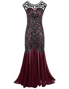 PrettyGuide Women s 1920s Black Sequin Gatsby Maxi Long Evening Prom Dress Burgundy  1012 ** You can find out more details at the link of the image.