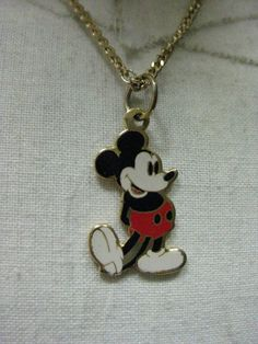 Mickey Mouse Necklace Gold Vintage Pendant by vintagejewelryalcove, $7.50