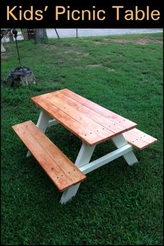 Make use of these cost-free picnic table plans to build a picnic table for your yard, deck, or any other area around your residence where you need sitting. Developing a picnic table is . Read Best Picnic Table Ideas for Family Holiday Kids Picnic Table Plans, Build A Picnic Table, Picnic Tables, Kids Outdoor Table, Homemade Outdoor Furniture, Outdoor Garden Furniture, Kids Furniture, Antique Furniture, Modern Furniture