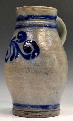 Salt Glaze Pottery Pennsylvania | 346: FOLK ART SALT GLAZE POTTERY STONEWARE PITCHER : Lot 346