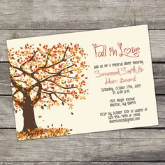 YOU PRINT Fall Tree Rehearsal Dinner Invitation Digital File 4x6 or 5x7 Fall Rehearsal Dinner Invitations - 105