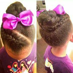 Simple Kids Updo Style - http://www.blackhairinformation.com/community/community-pictures/simple-kids-updo-style/ #braid #bun #kidshair