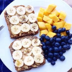 tobefre-ed: Starting my day with French toast with peanut butter + banana and mango and blueberries on the side!