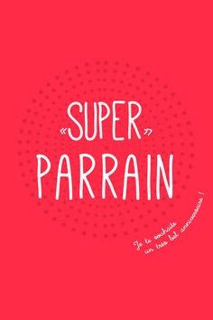 Carte 'Super Super Parrain' pour lui dire souhaiter un bel anniversaire sur fond orangé. : Cartes par suite-creative-babies