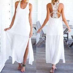 Scoop cuello con estilo sin mangas ahueca hacia fuera el vestido de las mujeres Furcal