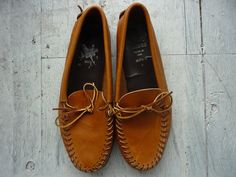 Men's Leather Moccasins 8 / Tan Leather by HawkandSparrowOnline, $50.00