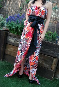 Tropical Maxi Dress, Strapless Empire Waist Gown by MixeDesigns, #2014summerfashion #tropicalflowers