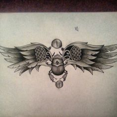 Scarab beetle egyptian tattoo sketch