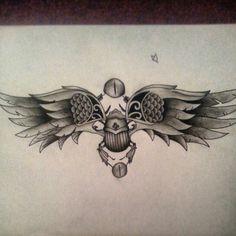 Scarab beetle egyptian tattoo sketch