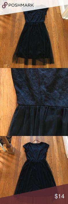 LC Lauren Conrad: black lace overlay tulle dress Excellent condition and ready for wear. LC Lauren Conrad Dresses