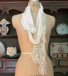 Long Scarf Vintage Lace Reconstructed Upscaled Boho Romantic Eco Chic Altered Clothing Doily