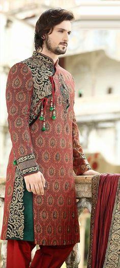 14462: Make your GROOM come in swag. #WeddingCouture #Sherwani #ValentinesDaySale #Groomsmen #IndianFashion