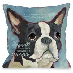"Boston Terrier"" Indoor Throw Pillow by Ursula Dodge, 16""x16"