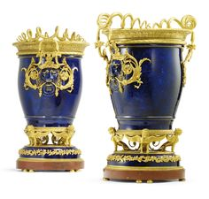 "A pair of French gilt-bronze-mounted Sèvres lilac-grey porcelain vases ""Tabouret' and liners in Louis XVI style, the Sèvres porcelain dated circa the mounts possibly by Christofle or Beauferey snake-cast handles lacking each high, diameter; Faberge Jewelry, Lilac Grey, Bronze, Luxury Decor, Light In The Dark, Light Blue, Louis Xvi, Porcelain Vase, Old Antiques"