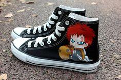 Anime shoes Naruto Gaara painted shoes High Top Black cavas
