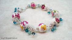 Keepsake Crafts | Crystal Dangles and Roses Bracelet Video Tutorial | http://keepsakecrafts.net/blog