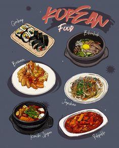 korean food sketch me Sketch Menu, Food Sketch, South Korean Food, Korean Street Food, Menu Restaurant, Cute Food Art, Food Menu Design, Food Wallpaper, Food Drawing