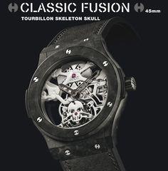 Hublot Classic Fusion Tourbillon white Skull closeup