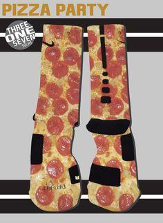 Pizza Party Designer Custom Nike Elite Socks