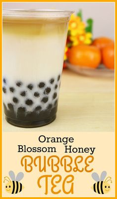 This delicious Orange Blossom Honey Bubble Tea Recipe (also known as Boba Tea) combines chamomile tea with almond milk and is sweetened with tapioca pearls in orange blossom honey. This delicious Orange Blossom Bubble Tea, Yummy Drinks, Healthy Drinks, Honey Boba, Boba Tea Recipe, Milk Tea Recipes, Boba Drink, Orange Blossom Honey, Chamomile Tea