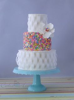 wafer paper and spring confetti sprinkles cake! ~ all edible