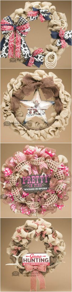 If you like western and rustic style decorating, you will love welcoming guests with a beautiful wreath from our rustic home decor collection. Our wreaths are handcrafted and perfect for dressing up any door or wall with western style. See our entire gallery of western and rustic wreaths for more great decorating options. Also, join our newsletter for exclusive discounts and savings. www.missiondelrey...