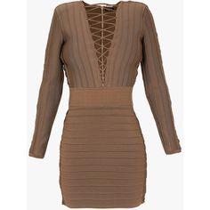 Balmain Lace-up stretch viscose knit mini dress ($2,620) ❤ liked on Polyvore featuring dresses, mini dress, long sleeve short cocktail dresses, zipper dress, brown knit dress and knit dress