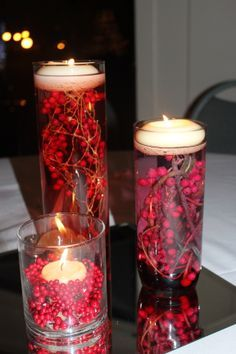 Simple, but I love using red in my Christmas decorating. Candle Lanterns, Pillar Candles, Diwali Decorations, Christmas Decorations, Homemade Centerpieces, Festival Lights, Christmas Home, Diwali Candle Holders, Table Scapes