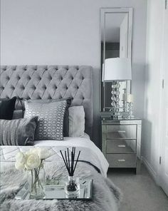 Grey Bedroom Inspo Grey Interior Bedroom Silver Mirror Side Tables regarding proportions 1408 X 1767 Bedrooms With Mirrored Furniture - One from the most Silver And Grey Bedroom, Bedroom Inspo Grey, Silver Bedroom Decor, Bedroom Wall Colors, Home Decor Bedroom, Master Bedroom Grey, Grey Bedroom Design, Silver Room, Grey Home Decor