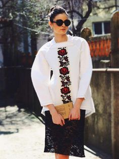 Neoprene sweater, with application of traditional handmade embroidery. Comes in sizes up to Medium. Colours available: white, nude, grey and black. Folk Fashion, Ethnic Fashion, Womens Fashion, Ukrainian Dress, How To Start Knitting, Embroidered Clothes, Fashion Project, All About Fashion, Skirt Fashion