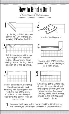 How To Bind A Quilt. Quilting For Beginners Made Easy Quilting for beginners may be Quilting For Beginners, Sewing Projects For Beginners, Quilting Tips, Quilting Tutorials, Machine Quilting, Quilting Projects, Beginner Quilting, Baby Quilt Tutorials, Beginner Quilt Patterns
