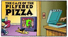 Free from Scholastic - Math Maven's Mystery: The Case of the Pilfered Pizza...click on the side blue square and it reads the mystery to the kids!